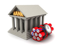 Bank theft. 3d illustration of bank building and dynamite Royalty Free Stock Images
