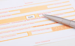 Bank transfer form Royalty Free Stock Photo