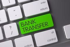 Bank Transfer Keypad. 3D. Concept of Bank Transfer, with Bank Transfer on Green Enter Keypad on Metallic Keyboard. 3D Illustration royalty free stock photo