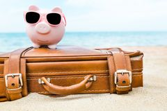Bank. Travel pink beach island fares offer stock photography