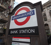Bank tube station in London. LONDON, UK - CIRCA JUNE 2017: Bank tube station roundel sign Royalty Free Stock Photos