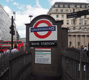 Bank tube station in London. LONDON, UK - CIRCA JUNE 2017: Bank tube station roundel sign Stock Photo
