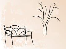 Bank und Baum Stockfoto