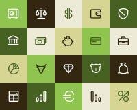 Bank- und Finanzikonen. Flach lizenzfreie abbildung