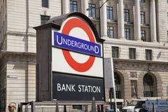Bank, underground tube station Stock Image