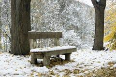 Bank unter Schnee im Winterpark Lizenzfreie Stockfotografie