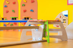 Bank upside down in indoor children's playground Royalty Free Stock Images