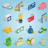 Bank ustalone ikony, isometric 3d styl Fotografia Stock