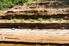 Bank van de rivier Nam Khan van riviernam khan in Luang Prabang, Laos Exemplaarruimte voor tekst royalty-vrije stock foto's