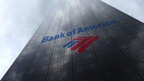 Bank van het embleem van Amerika op een wolkenkrabbervoorgevel die op wolken wijzen Het redactie 3D teruggeven Royalty-vrije Stock Afbeeldingen