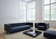 Bank van weefsel in een moderne woonkamer 3d Stock Foto's