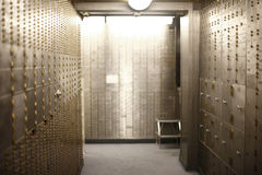Bank Vault. A corridor of safe deposit boxes in a bank vault Royalty Free Stock Photography