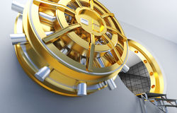 Bank vault. Golden door of bank vault Stock Images