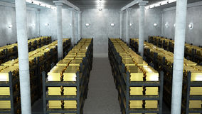 Bank vault. With gold bars Royalty Free Stock Photo