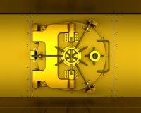 Bank vault. 3D render of a gold bank vault Royalty Free Stock Image