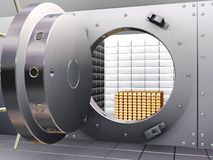 Bank vault. 3D render of open bank vault with gold bars inside Stock Photos