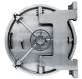 Bank vault door isolated on white with clipping path Stock Photo