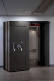 Bank Vault Door. Safe in stainless steel. Royalty Free Stock Images