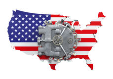 Bank Vault Door and USA Map Stock Photo