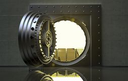 Bank Vault with gold bars inside. 3D rendering of a bank Vault with gold bars inside Stock Images