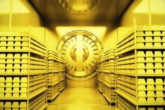 Bank vault inside. Golden bank vault with gold bars. 3D Render Stock Images