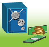 Bank vault and money. Abstract colorful background with blue metallic bank vault having a combination dial safe lock, golden coins and green banknotes Royalty Free Stock Photography