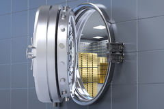Bank vault opened. 3d rendering bank vault opened with bullion inside Royalty Free Stock Images