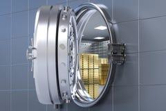 Bank vault opened. 3d rendering bank vault opened with bullion inside stock illustration