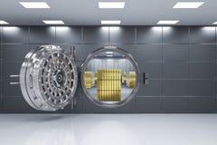 Bank vault opened. 3d rendering bank vault opened with bullion inside vector illustration