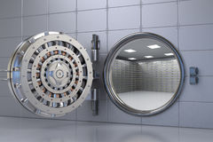 Bank vault opened. 3d rendering bank vault opened with deposit boxes inside Stock Images