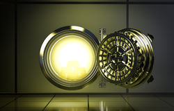Bank vault. Opened door of bank vault with a yellow light coming from inside (3d render Royalty Free Stock Image