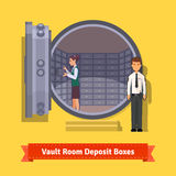 Bank vault room with a safe deposit boxes Stock Images