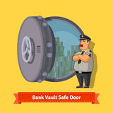 Bank vault room safe door with a officer guard. Opened with money inside. Flat style isometric illustration. EPS 10 vector Stock Photo