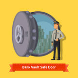 Bank vault room safe door with a officer guard. Opened with money inside. Flat style isometric illustration. EPS 10 vector Royalty Free Stock Photos