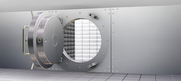 Bank Vault and Safety Deposit Boxes. 3D Render of Bank Vault and Safety Deposit Boxes Stock Photos