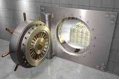 Bank vault with stack of 100 dollar bills. 3D render of a bank vault with stack of 100 dollar bills inside Stock Images
