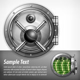 Bank vault on white & text Royalty Free Stock Images