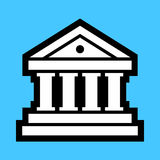 Bank Vector Icon. A simple vector illustration of a bank building icon with pillars and steps Stock Image