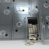 Bank veilig hoogtepunt van dollars Stock Foto