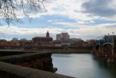 Bank view of Toulouse. With bridge in France stock image