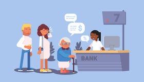 Bank visitors in queue cartoon vector illustration stock illustration
