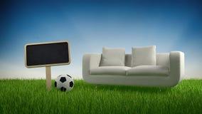 Bank, voetbalbal en leeg teken in gras stock illustratie