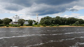 On the bank of The Volkhov River. stock footage