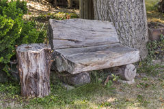 Bank vom alten Baumstamm Stockbild