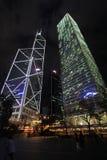 Bank von China- und Cheung Kong-Mittelwolkenkratzer in Hong Kong bis zum Nacht Lizenzfreies Stockbild