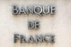 Bank von Frankreich-Zeichen auf einer Wand Lizenzfreie Stockfotografie