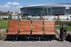Bank vor Donbass Arena Lizenzfreies Stockbild