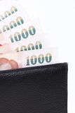 Bank in wallet. Bank in black leather wallet Royalty Free Stock Images