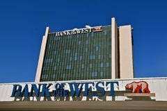 Bank of the West logo and building. FARGO, NORTH DAKOTA, August 26, 2017:  The Fargo Bank of the West is a branch office which provides financial services and it Royalty Free Stock Photography