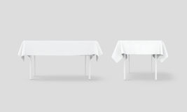 Bank white table cloth mock up set, clipping path. 3d rendering. Clear tablecloth design mockup isolated. Fabric space satin on desk template. Kitchen table Royalty Free Stock Images